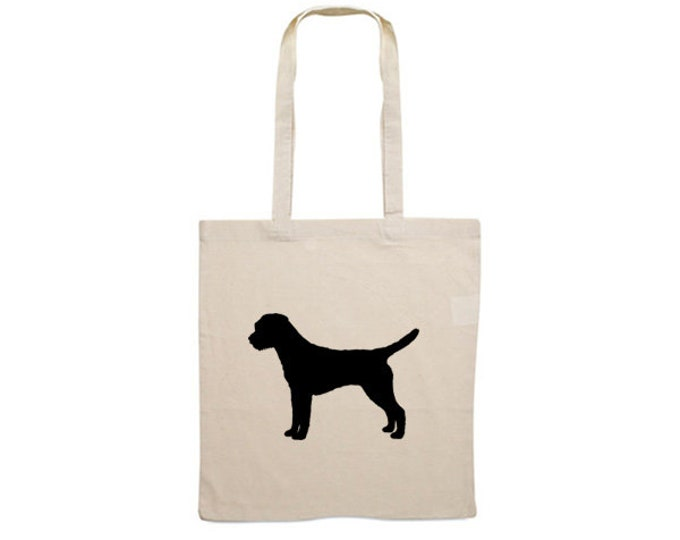 Canvas bag Border Terrier dog silhouette