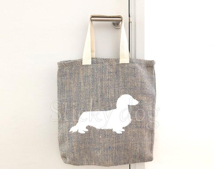Canvas/jut bag Long-haired Dachshund - Teckel dog silhouette