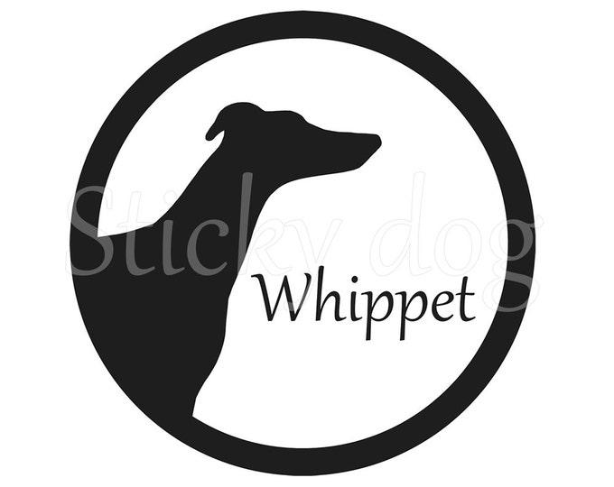 Whippet silhouette in cirkle sticker