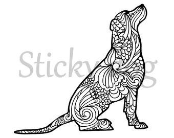 Labrador retriever sitting art sticker