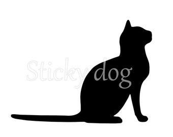 Sitting cat silhouette sticker