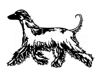Afghan hound silhouette sticker