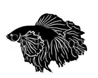 Siamese fighting fish silhouette sticker