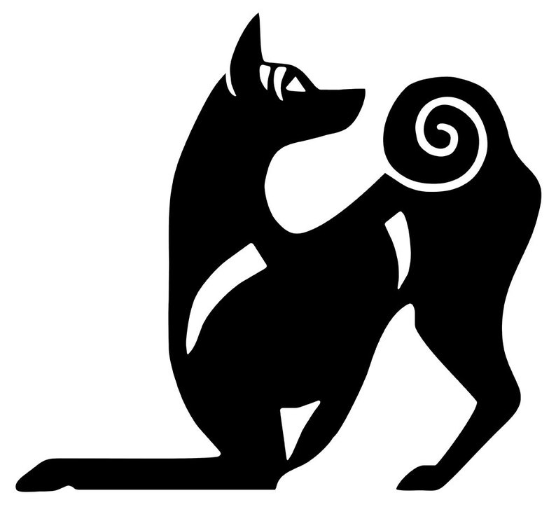 Basenji playbow dog silhouette LeChienArtistiQ
