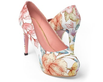 a4db49a24 Women s And Teen s Watercolor Floral Platform Heels