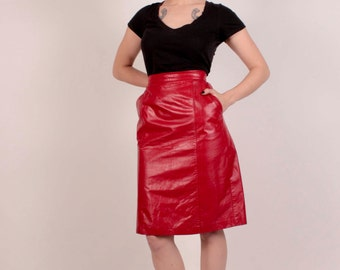c01bb953fb9 Funky 80 s Red Leather Skirt High Waisted Size 6 8
