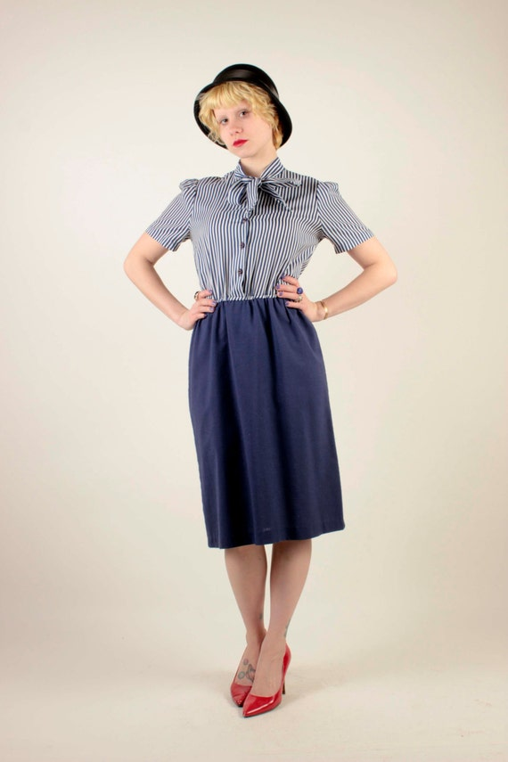 Adorable 80s Navy Blue Striped Sailer-Looking Dress With Pussy  786e3a64c