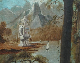 """4"""" by 6"""" postcard print, """"Sailboat Bot"""" Altered Thrift Store Art"""