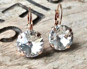 Rose Gold Swarovski Round Rivoli Crystal drop earrings