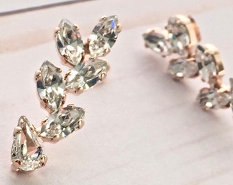 8398c6878 Rose Gold Swarovski Vine Branch Marquise Navette Teardrop Crystal drop  earrings - Bridal Earrings - Statement - Rose Gold Clear Crystal