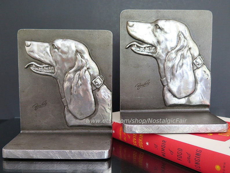 Vintage Hunting Dog Bookends Bruce Fox Cast Aluminum Hand Crafted Wrought  Metal Signed by Artist