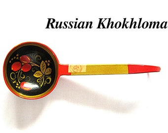 Vintage Khokhloma Russian Wooden Spoon Wood Ladle Hand Decorated