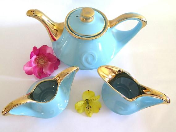 Vintage Aladdin Teapot Creamer Sugar Bowl Pearl China Blue Turquoise Gold Trim