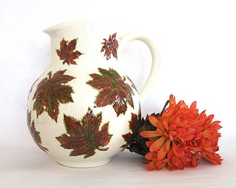 Vintage Ceramic Pitcher Majolica Pottery Autumn Maple Leaves