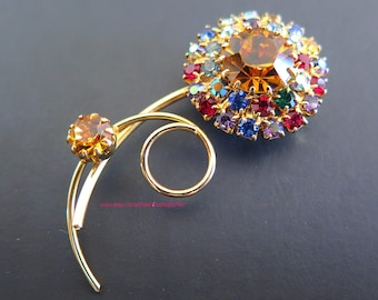Vintage Rhinestone Flower Brooch Juliana Style Multicolor and AB Crystals Fruit Salad Gold Tone Designer Jewelry