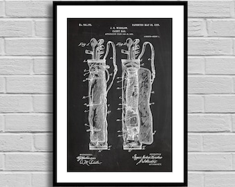 Caddy Bag Patent, Caddy Bag Patent Poster, Caddy Bag Blueprint, Caddy Bag Print, Vintage, Golfing, Golfing Decor, Sports Decor p741