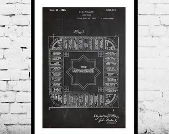 Landlord's game Patent, Board game Patent Poster, Boardgames, Mancave decor, Monopoly, Board game art, Game room, wall art, gamer p1203