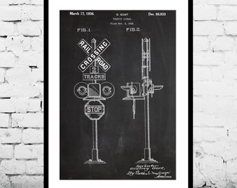Rail Road Crossing Signal Poster, Rail Road Crossing Signal Patent, Rail Road Crossing Signal Print, Rail Road Art, Train Decor p010