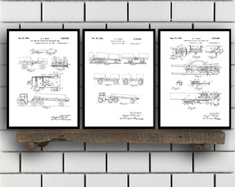 Railway Related Patent Set of THREE, Railway Invention Patent, Train Poster, Train Print, railway Patent, train Inventions SP134