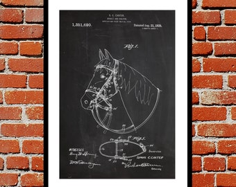 Equestrian Bridle and Halter Patent, Bridle and Halter Poster, Bridle and Halter Print, Bridle and Halter Art, Equestrian Halter Decor p769