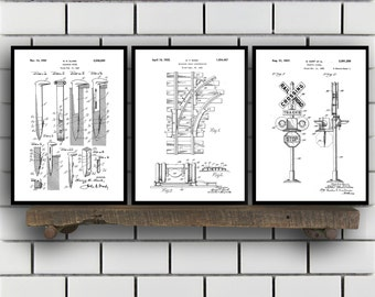 Train Patents Set of 3 Prints, Train Prints, Train Posters, Train Blueprints, Train Art, Train Wall Art, Train Prints, Train Art Sp326