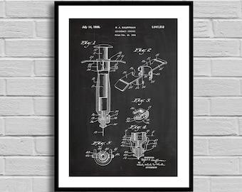Hypodermic Syringe Patent Print Medical Design Medical Equipment Doctor Patent art Wall Art Print Patent Syringe patent nurse gift p618