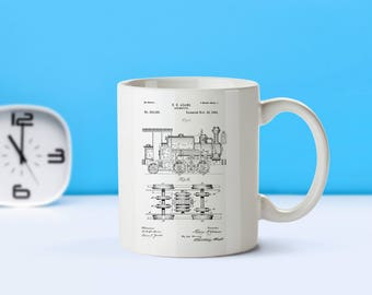 Locomotive patent mug  coffee mug  coffee lover  patent art  patent mug  Train Decor Vintage Locomotive Collectible Train GiftsM153 SP1003