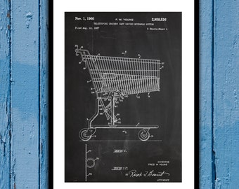 Grocery Cart Patent Grocery Cart Poster Grocery Cart Blueprint Grocery Cart Print Grocery Cart Art Grocery Cart Decor p592