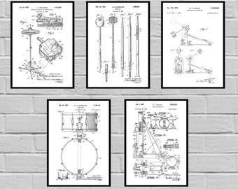 Drum Patents Set of 5 Prints Drum Prints Drum Posters Drum Blueprints Drum Art Drum Wall Art Snare Drum Drummer gift sp471