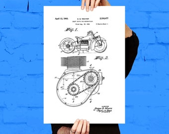 Indian Motorcycle Patent, Motorcycle Poster, Motorcycle - Motorcycle Decor - Patent Print Poster Wall Decor p1119