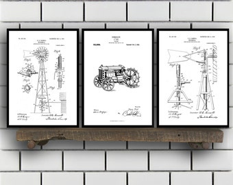 Farm Related Patent Set of THREE, Farm Invention Patent, Farm Poster, Farm Print, Farm Patent, Farm Inventions SP179