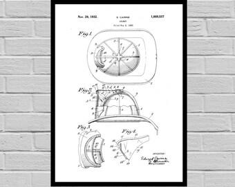 Fireman's Helmet Patent, Fireman's Helmet Poster, Fireman's Helmet Print, First Fireman's Helmet Art, Fireman's Helmet Decor, p1103