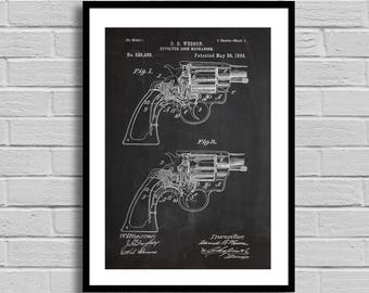 Revolver patent Patent Prints Wall Decor Revolver poster Patent Poster Revolver Art Unique Gifts for Dad Wall Decor Gift for him p1281
