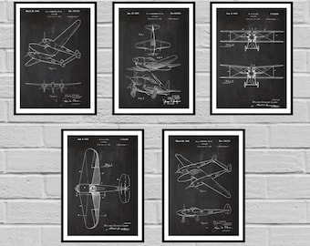 Airplane Patent SET of 5 Aircraft Poster Airplane Art Aviation Decor Airplane Wall Art Airplane Blueprint Aviation giftsPilot sp420