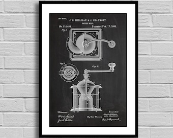 Patent Print Coffee Mill Patent Wall Art Poster Coffee Mill decor Coffee Mill Patent art gift for him Coffee lover gift coffee mill p684