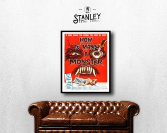 MOVIE poster vintage How To Make A Monster Classic Horror space poster Poster Art Vintage Print Home Decor movie poster Collectible sp624