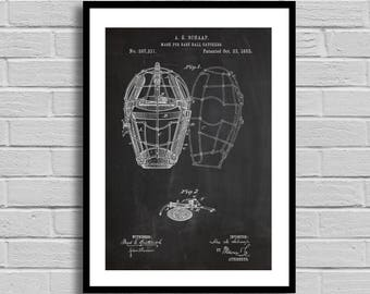 Umpire Mask Patent, Umpire Mask Patent Poster, Umpire Mask Blueprint, Umpire Mask Print, Sports Decor, Baseball, Baseball Decor,Sports p894