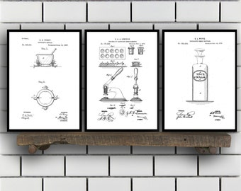 Drugstore Patent Prints Set of THREE, Drugstore Invention Patents, Drugstore Poster, Drugstore Inventions, Pharmacist Decor, Pharmacy SP384