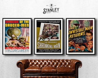 MOVIE posters set of 3 vintage invisible man Classic Horror space poster shrinking man Poster Art Vintage Print Art Home Decor monster sp598
