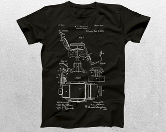 Barbers Chair Patent T-Shirt, Barbers Chair Blueprint, Patent Print T-Shirt, Barber Shirt, Gift for Hairdresser p458