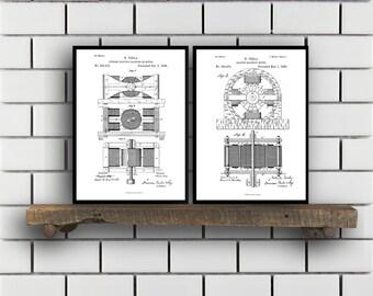 Tesla Patent Set of TWO Tesla Electrical Transmitter Patent Tesla Poster Tesla Transmitter Print Tesla Patent Tesla Inventions sp117