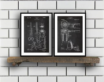 Hair Related Patent Set of TWO Hair Invention Patent Hair Poster Hair Print Hair Patent Hair Inventions SP185