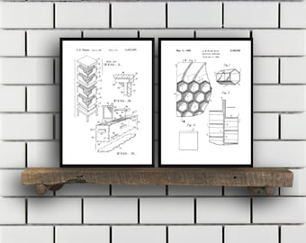 Bee Keeping Patent Set of TWO Bee Keeping Invention Patent Bee hive Poster Bee keeping Print bee keeping Inventions SP246