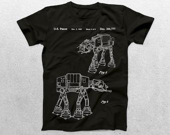 Star Wars AT-AT Walker Patent T-Shirt,Star Wars Blueprint,Patent Print T-Shirt,nerdy gift, Star Wars Gift, Star Wars Tee p942