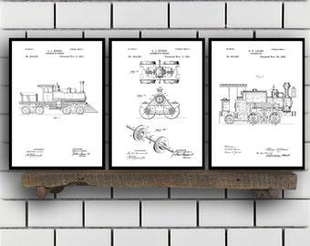 Train Patents Set of 3 Prints, Train Prints, Train Posters, Train Blueprints, Train Art, Train Wall Art, Train Prints, Train Art Sp325