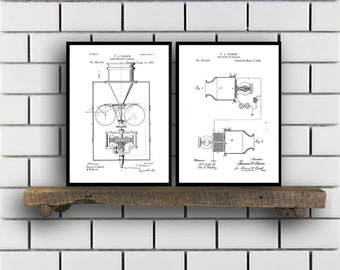 Thomas Edison Patent Prints  Set of 2  Light bulb Patent Thomas Edison Poster Thomas Edison Blueprint Thomas Edison art SP344