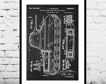 Tank Patent Military Poster Military Tank Patent Military Tank Print Military Tank Art Military Tank Decor Military Tank Blueprint p1289