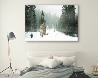 Nature Print Large Wall Art Print Photography Print Nature Photography Neutral Wall Decor Mountain Art Snow leopard Forest PH012