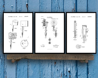 Tattoo Patent Prints - Set of 3 - Tattoo Patent, Tattoo Poster, Tattoo gun Blueprint, Tattoo machine Print, Tattoo Art, tattoo Decor Sp37