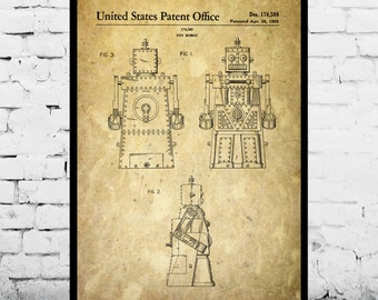 Toy Robot Patent Toy Robot Poster Toy Robot Print Toy Robot Decor Toy Robot Art Toy Robot Blueprint Toy Robot Wall Art p956